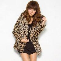 High street 8892 # 2014 winter new hooded imitation leopard fur coat jacket - leopard ( 880g )