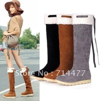 Hot sale!!! 2012winter fashioon snow boots nubuck leather over-the-knee steps bow flat heel tall women boots for female