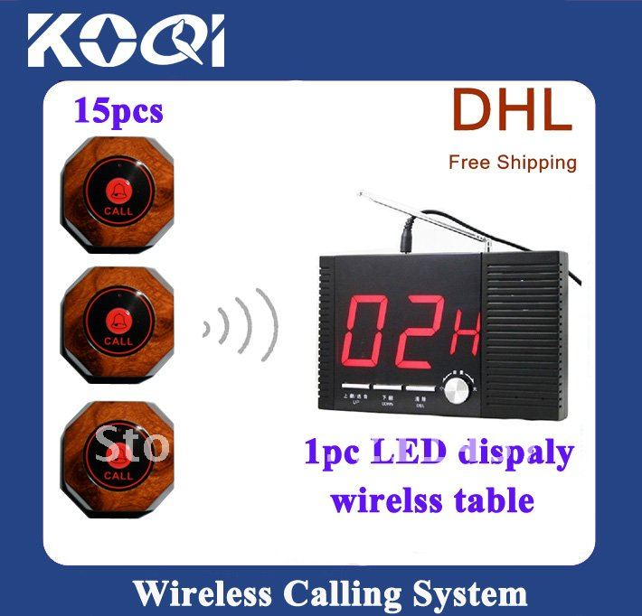 DHL FREEshipping Fashion Nice Design Restaurant wireless paging system  ; A set of 1pc receiver and 15pcs 1key call buttons
