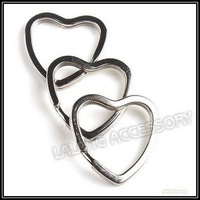 Fashion 30pcs/lot Iron Round Split Heart Shape Key Ring Rhodium Plated Jewelry Findings Fit Keyring Keychain Making 31mm 160459