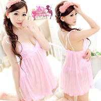 Free shipping Sexy uniform hot no open-crotch sexy sleepwear women's viscose sexy nightgown