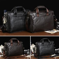 Genuine leather men business briefcase/ Cowhide men computer bag/ Leather men shoulder bag