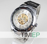Наручные часы Mens Skeleton Mechanical Self-winding Boys Sport Wrist Watch Gift TIMI Clock