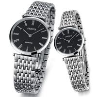 JSDUN Brand Stainless Steel Band Fashion Quartz Mens Sports Military Watch Women Dress Rhinestone Watches A Pair 8695 8695