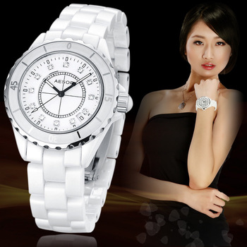 Fashion women's watch waterproof ceramic wristwatch girl rhinestone inlaid luxury best gift FREE SHIPPING 9905