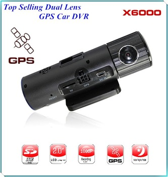"The Cheapest 1080p - 720P Car DVR Recorder X6000 with HD Dual Lens/5.0 Mega/External GPS/G-Sensor/2.0"" LCD Car Key Camera Record"