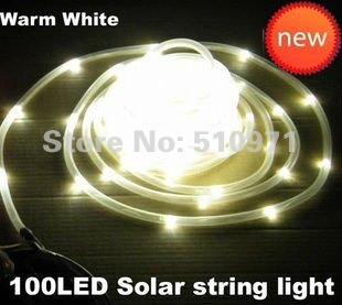 Free shipping!!!  solar tube WARM YELLOW string light,100 LEDs solar christmas garden neon light 12 meters length waterproof