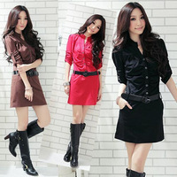 Free shipping  Korean version of the 2013 new Gaga XL ladies long-sleeved dress sent belt Large size