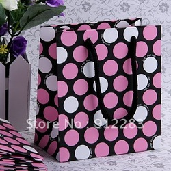 Free Shipping 24pcs 150x130mm Rectangle Pink Dots Kraft Paper Gift Hang Bag/Shopping Bag,Fashion Jewelry Package(China (Mainland))