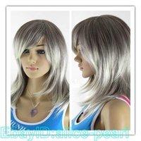 Fashion Long straight Grey women's full wig