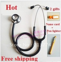 High quality Professional deluxe Stainless steel dual head stethoscope with soft earplug free name card pen light free shipping