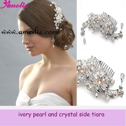 Free Shipping New arrival Wholesale &amp; Retails Charm Rhinestone Pearl Floral Crystal Bridal Hair Comb(China (Mainland))