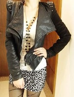 Black  Motorcycle Jacket  blazer coat ruffles women clothing 2012 Women Spiked Studded shouler Leather   Jacket