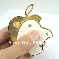 FREE shipping,Mini Classic bit Apple Shape Portable USB Green Electronic Windproof Cigarette Lighter - Gold&Silver,in Stock