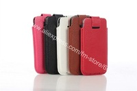 100pcs/lot 5x color genuine real soft cow leather case cover  sleeve poket  pouch for iphone 5 5G