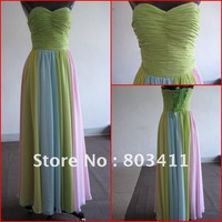 Free Shipping New Arrival Gorgeous Multi Color Chiffon Prom Dress