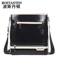 Black and white cowhide male shoulder bag genuine leather bag messenger bag man bag b10391