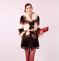 2014 Winter Women's Genuine Rex Rabbit Fur Coat with Fox Fur Collar Lady Slim Trench Outerwear Coats VK0317