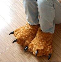 warm bear paw winter fur home padded slipper