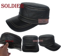 Thick Cowhide Leather Military Hat  GENUINE LEATHER Mens Vintage Cap