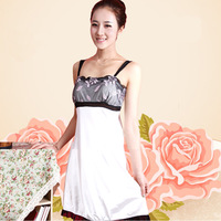 Ladies penguin lounge summer faux silk sexy sleepwear women's lace spaghetti strap nightgown
