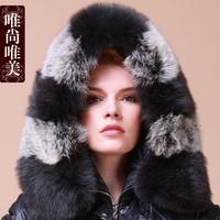Free shipping Aesthetic winter female down coat 2012 women's ultralarge fox fur luxury long design
