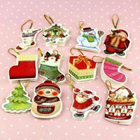 Christmas mini greeting card christmas tree decoration 4.5*3.5cm many style wedding decoration