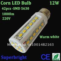 12W corn led bulb light white color 42leds SMD 5630 led 1000lm 220V energy saving ROHS CE indoor lamp Free shipping