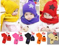 Wholesale 5set/lot Pentastar Baby child cap sleeve hat + scarf 2 kit/set gorro Knitting Winter hat 5 Colors