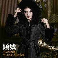 Free shipping High quality 2012 fox mink luxury long design down coat female
