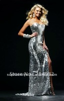 Hot sale Sweetheart Slit Sexy Silver Sequined Floor length peacock sequin prom dress