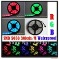 Free shipping 5m/roll GRB 5050 colorful LED Flexible 30LEDS/M RGB Strip strips flexible ribbon led strip light