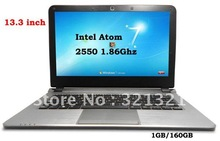 DHL Free – 13.3 inch Laptop PC Notebook Windows 7 OS WIFI Webcam INTEL ATOM Dual Core D2550 LED Screen 1GB DDR3 160GB HDD