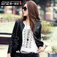 Free Shipping! 2013 Autumn and Winter New Fashion Women Epaulette Short PU Leather Motorcycle Wadded Jacket Coat B06736#