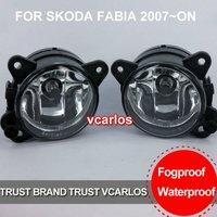 Free Gifts + Free Shipping Fog Lamp For Mitsubishi SKODA FABIA 2007~ON Clear Lens PAIR SET + Wiring Kit
