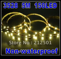 LED STRIPS 3528 5M 150 LED 30leds/m Non-waterproof Flexible Strip White with 3M Tape Free Shipping