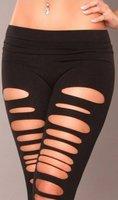 Hot Sale Sexy Black slim fit Broken Hole Tear Leggings  W3156
