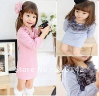 Платье для девочек 2013 new style Children lace princess dress girls fashion Long sleeve Gauze dress children clothing 5pcs/lot