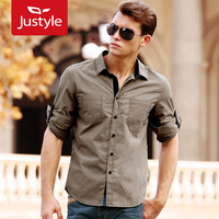 2012 fashion autumn and winter casual color block male 100% cotton casual long shirt male,5 pieces/lot free shipping