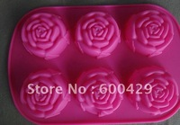 10 pcs/lot  DIY 6-Rose Food Grade Silicone Cake pan/ Jelly Pudding   Baking Mold Free Shipping