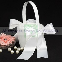 Free Shipping Retail Wedding Party Stuff Supplies Classic White Satin Bows Girl / Boy Flower Basket for Wedding in Ivory