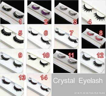 LOL-MALLexport product 14styles 20*fancy wedding Thick Long False Eyelashes Eyelash Eye Lashes crystal diamond wholesale  women