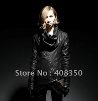 2013 Fashionable Punk Men's Cool Draped Collar Oblique Zipper Quality Leather Jacket Coat Free Shippng