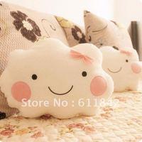 Free shipping 35cm 2 design cute cartoon smiling cloud stuffed plush pillow,plush seat cushion great gift, MOQ:1 pair