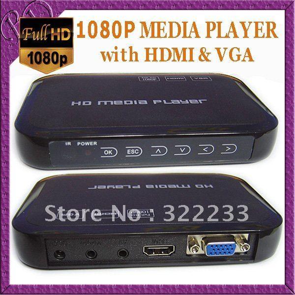 Free Shipping Full HD 1080P USB External HDD Media Player with HDMI VGA SD support MKV H.264 RMVB WMV Brand New(China (Mainland))