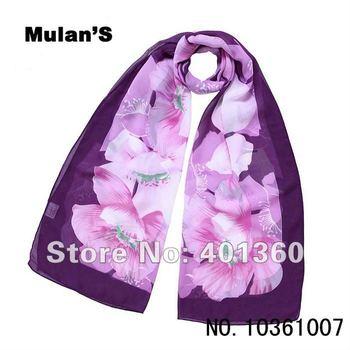 "10pcs/lot Floral hijab scarf, 100% chiffon Silky big flower Headwear women scarfs 63""x20"" _Retail & Wholesale"