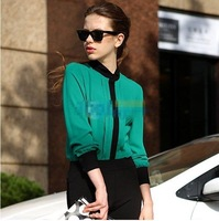 2013 new fashion womens' hearts print sexy chiffon blouse transparent see through with pocket elegant casual t shirt tops