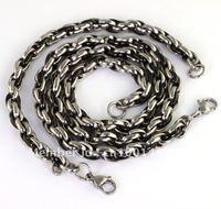 Hotsale!A Set New Arrival Black&Silver Stainless Steel Necklace & Bracelet TG1065&7