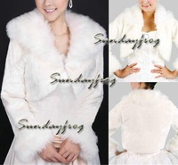 Free Shipping Long Sleeves Faux Fur Special Occasion/ Wedding Jacket/ Wrap/ Bolero Jacket -Jacket27