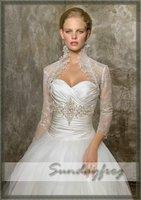 Free Shipping in Stock 3/4-Length Sleeves Organza Beaded Lace Ruched Bridal Jacket / Wedding Bolero Jacket -Jacket4
